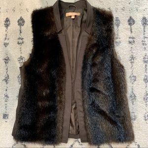 Ellen Tracy- Chocolate Brown - Faux Fur Vest